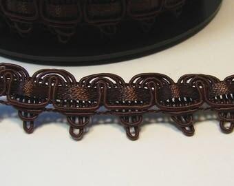 Ribbon, fancy, 15 mm, Brown braid, the meter.