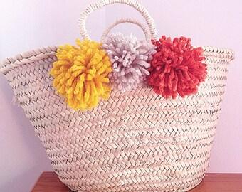 MARIA- Boho Ibiza Straw Basket - Morrocan Market Shopping Beach Bag- Pom Pom- Bohemian Hippie Style - Customise Me!