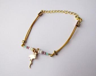 Pink fine cord beads ocher Flamingo charm bracelet