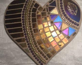 SOLD -Plum & Gold Mosaic Heart