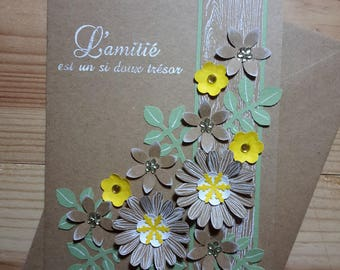 Card floral minimalist, simple, Kraft, yellow and green