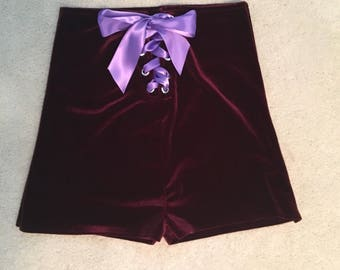 Velvet high waisted shorts