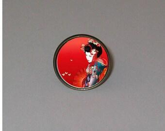 Ring cabochon 20mm jewel * Japanese woman *.