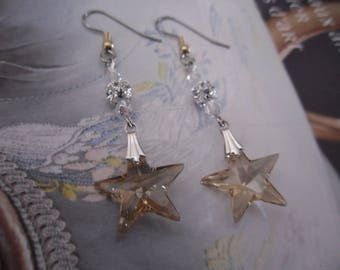 Stars Golden Shadow Swarovski Crystal, filigree beads and crystal earrings