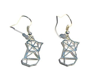 Earrings Metal imitation origami Fox