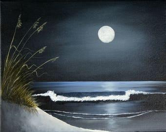 Moonlight Beach Original Oil Painting, Stretched Canvas, Night Beach Scene, Original Oil Painting, Seascape Scene, Ocean Scene Oil Painting