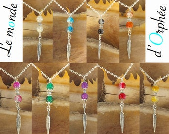 Feather necklace, several color choices: blue, pink, yellow, orange, white, black, green, purple, Red