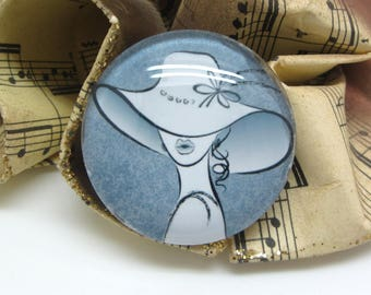 2 cabochons glass woman Hat gray 20 mm - 20 mm