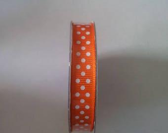 Orange polka dot satin ribbon white
