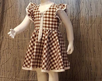 Brown/white gingham dress. hand made