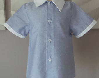 shirt 3 years in blue polyester cotton