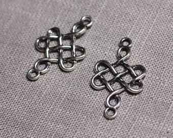 10pc - connectors pendants 31mm - 4558550095343 Celtic knot cross Silver earrings