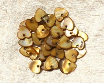 10pc - Pearl 11mm Bronze Brown - 4558550012548 hearts charms