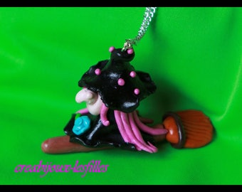 HALOWEEN fimo witch necklace