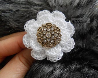 Shabby chic crochet flower ring