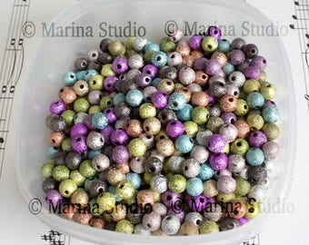 50 6mm stardust beads: mixed (MS18079)