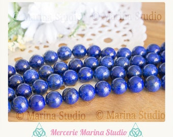 10 lapis lazuli natural non dyed 8mm or 6mm top quality beads - beads semi precious