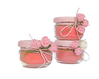 Bridal Floral Shower Favor Jar Candle Pink Shower Set Gift Jar Wedding Set Gift Jar Shower Set Decor Jar Party Shower Set Candle Rose Decor