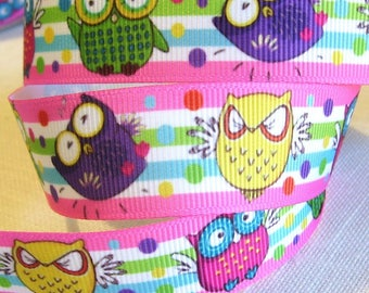Ribbon grosgrain printed * 22 mm * birds OWL OWL Humoristique stripe - sold by the yard