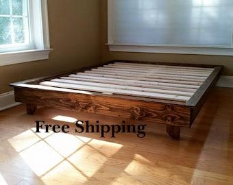 Platform Bed, Low Profile Bed, Colonial Platform Bed