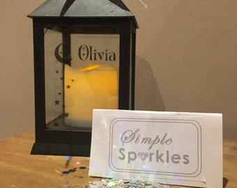 Personalised Unique Nursery/Children Bedroom Present Lantern with Battery Powered Candle