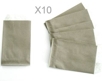 TAUPE x 10pcs kraft paper gift pouches