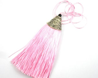 Pink tassel charm with Silver Cup