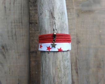 Suede cuff - Bronze charm bracelet