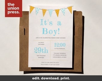 Baby Invitation, Baby Shower Invitation, Baby Invite, Baby Shower Invite, Baby Invitation Template, Baby Shower, It's a boy Invitation