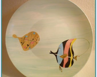 Plate porcelain decor: 2 fish hand painted