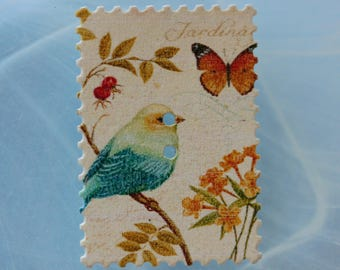 button rectangle wood bird and flowers