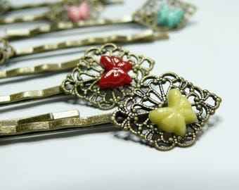 2 Yellow Butterfly clips