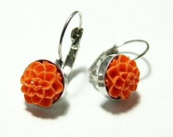 Cute earrings orange silver plate