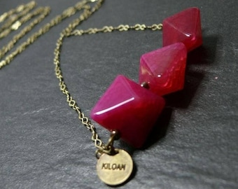 Necklace comets pink to Fuchsia