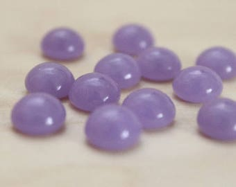 10 round cabochons, 8 mm, glass filled, purple, pink