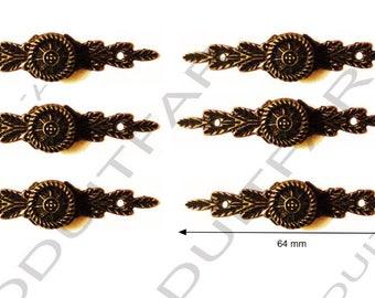 Set of 6 handle button color Bronze darkened filing drawer cabinet de craft locker 64 x 14 mm