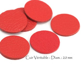 6 round genuine leather - Diam. 20 mm - goat leather - red vermilion color set