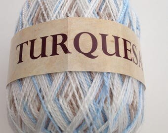 Ball of yarn to knit or crochet TURQUOISE blue, beige and white