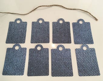 Set of 8 tags effect jeans 70mm x 45 mm