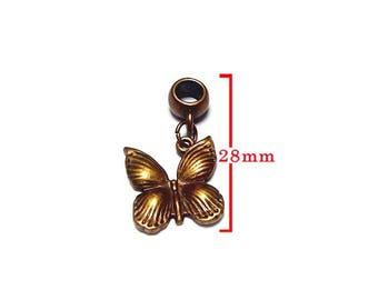 Bronze Butterfly pendant. Charm bracelet.  For jewelry making. Size 28mm