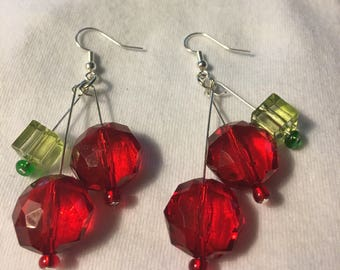 Cherry red and green earrings