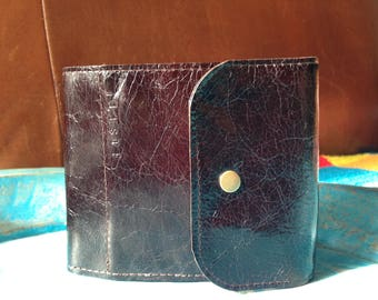 Man leather wallet / card, ID holder, coin purse / handmade