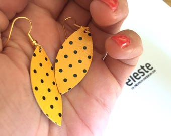 Earrings yellow printed leather with black dots / lightweight earrings with hypoallergenic and anti oxidant clip