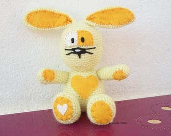crocheted yellow wool and felt Bunny