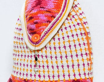 Crochet Backpack / Orange Purple White Backpack Travel / Overnight Sling Back with Toggle and Button