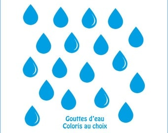 Drops stickers water for a deco style Scandinavian colours in the listing
