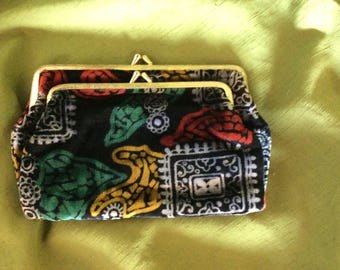 Vintage 60's Velveteen Fabric Coin Purse Clutch