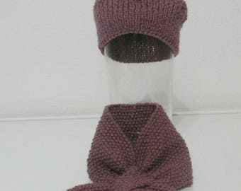 Choker 3 months hand knitted scarf and hat set