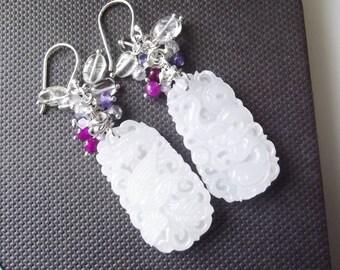 Lei * dramatic multicolored stones carved gemstones earrings