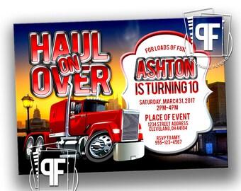 Semi Truck Birthday Invitation - Semi Truck Birthday Party - Semi Truck Invitation - Printable Semi Truck Birthday Invitation